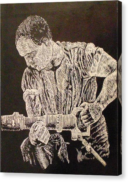 Working Man Canvas Print by Tammera Malicki-Wong