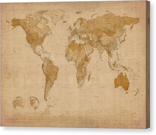 Map Canvas Print - World Map Antique Style by Michael Tompsett