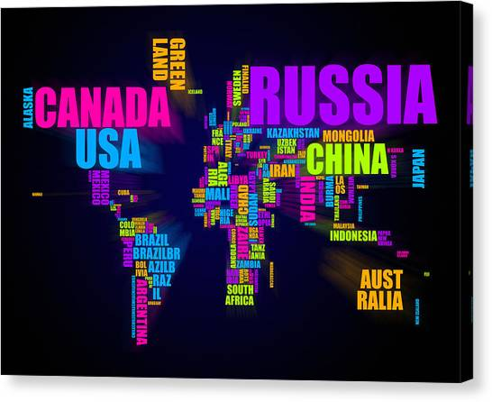 United Kingdom Canvas Print - World Map In Words by Michael Tompsett