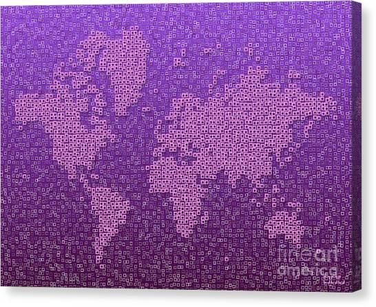 World Map Kotak In Purple Canvas Print