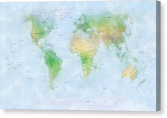 World map watercolor digital art by michael tompsett world map watercolor canvas print by michael tompsett gumiabroncs Gallery