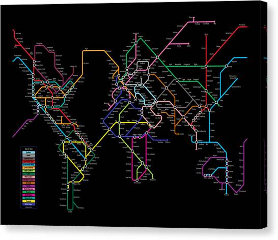 London Tube Canvas Print - World Metro Map by Michael Tompsett