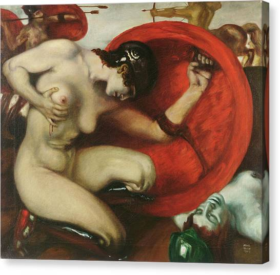Centaurs Canvas Print - Wounded Amazon by Franz von Stuck