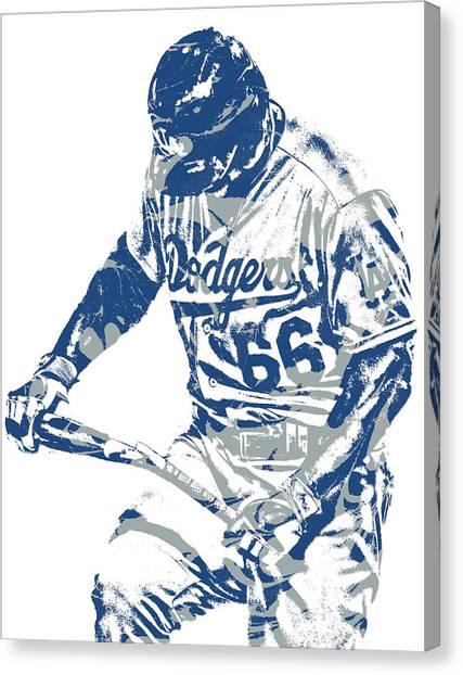 Los Angeles Dodgers Canvas Print - Yasiel Puig Los Angeles Dodgers Pixel Art 10 by Joe Hamilton