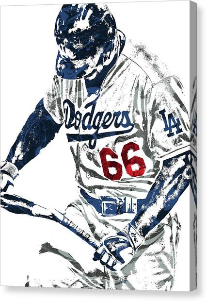 Los Angeles Dodgers Canvas Print - Yasiel Puig Los Angeles Dodgers Pixel Art by Joe Hamilton