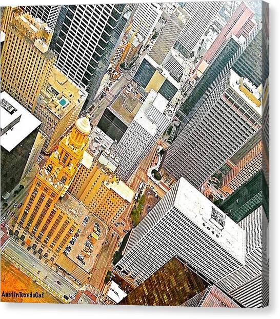 Houston Skyline Canvas Print - Yesterday's #birdseyeview Of #downtown by Austin Tuxedo Cat