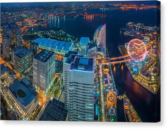 Yokohama, Japan Waterfront Cityscape. Canvas Print