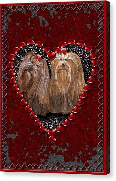 Canvas Print featuring the digital art Yorkie Heart by Michelle Audas