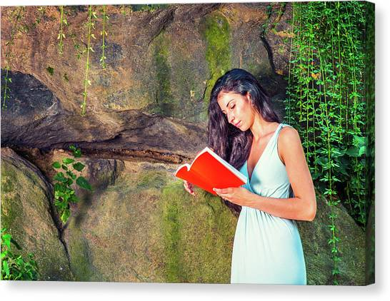 Young American Woman Reading Book At Central Park, New York, In  Canvas Print