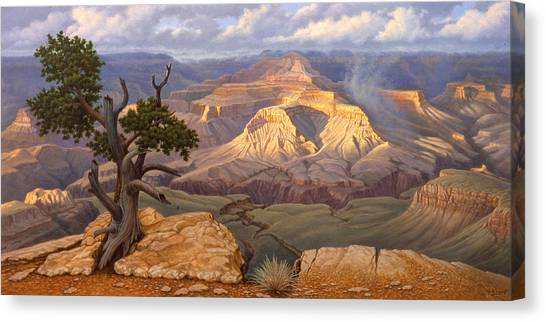 South Canvas Print - Zoroaster Temple From Yaki Point by Paul Krapf