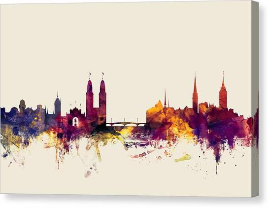 Swiss Canvas Print - Zurich Switzerland Skyline by Michael Tompsett