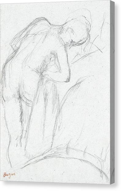 Sexuality Canvas Print - After The Bath by Edgar Degas
