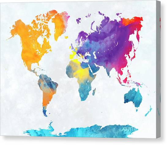 World map paint splashes canvas prints fine art america world map paint splashes canvas print world map in watercolor by pablo romero gumiabroncs Gallery