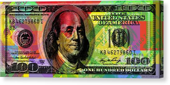 Benjamin Franklin - Full Size $100 Bank Note Canvas Print