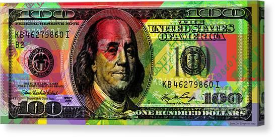 Benjamin Franklin - Full Size $100 Bank Note Canvas Print