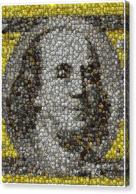 Ben Franklin Canvas Print - 100 Dollar Bill Coins Mosaic by Paul Van Scott