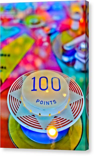 Fast Ball Canvas Print - 100 Points - Pinball by Colleen Kammerer