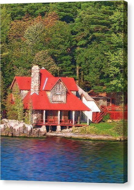 1000 Island Scenes 18 - Skull And Bones Society - Deer Island Canvas Print by Steve Ohlsen