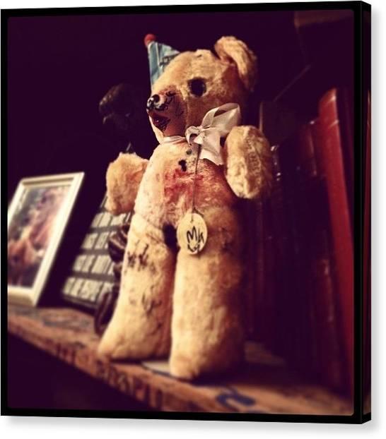 Teddy Bears Canvas Print - Teddy Bear With White Bow by Jeffrey Domke