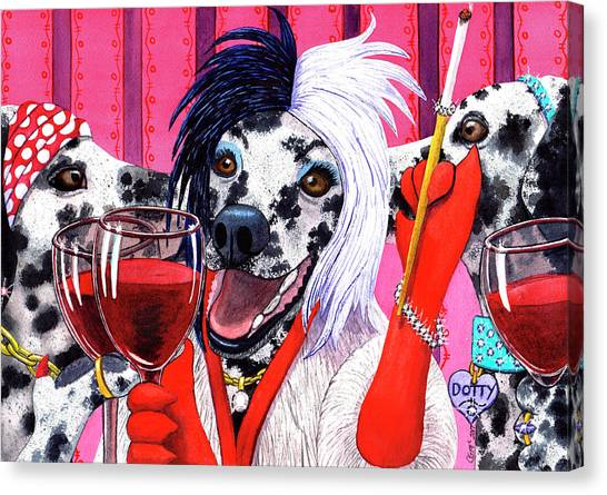 Dalmations Canvas Print - 101 Reasons To Keep Wining by Catherine G McElroy