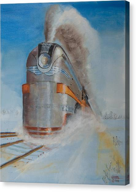 Steam Trains Canvas Print - 104 Mph In The Snow by Christopher Jenkins