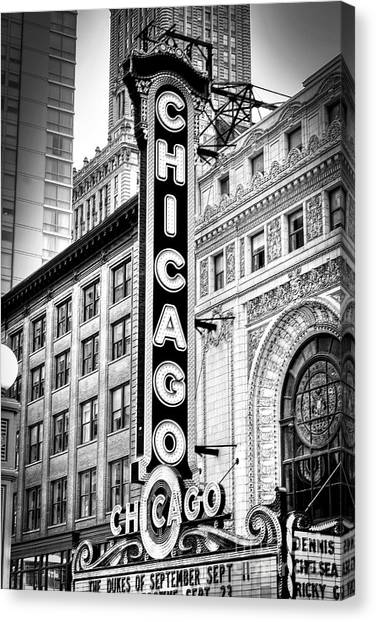 1077 Chicago Theater Black And White Canvas Print