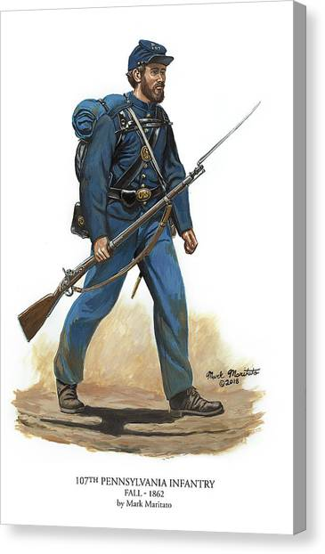 107th Pennsylvania Infantry Regiment - Fall Of 1862 Canvas Print by Mark Maritato