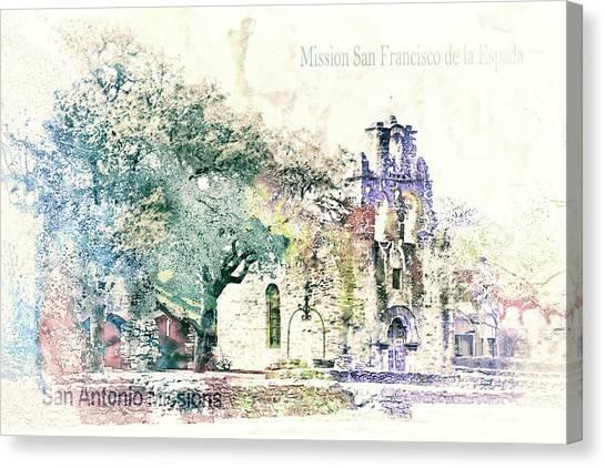 Sightseeing Canvas Print - 10858 Mission San Fransico De La Espada by Pamela Williams