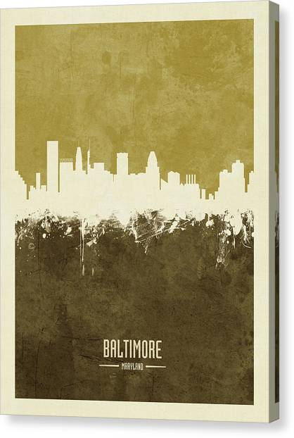 Maryland Canvas Print - Baltimore Maryland Skyline by Michael Tompsett
