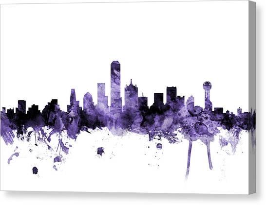 Dallas Skyline Canvas Print - Dallas Texas Skyline by Michael Tompsett
