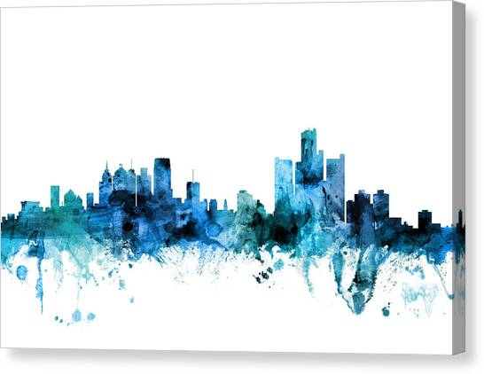 Michigan Canvas Print - Detroit Michigan Skyline by Michael Tompsett