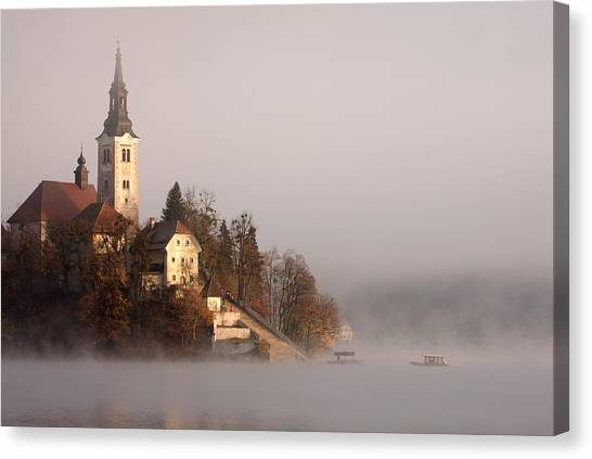 Misty Lake Bled Canvas Print