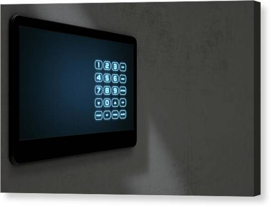 Keypad Canvas Print - Modern Interactive Home Security by Allan Swart