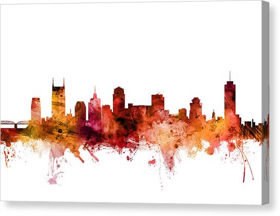 Tennessee Canvas Print - Nashville Tennessee Skyline by Michael Tompsett