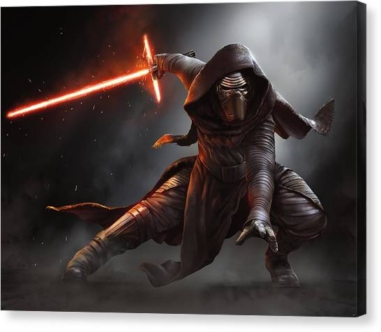 Yoda Canvas Print - Star Wars Episode Vii - The Force Awakens 2015 by Geek N Rock