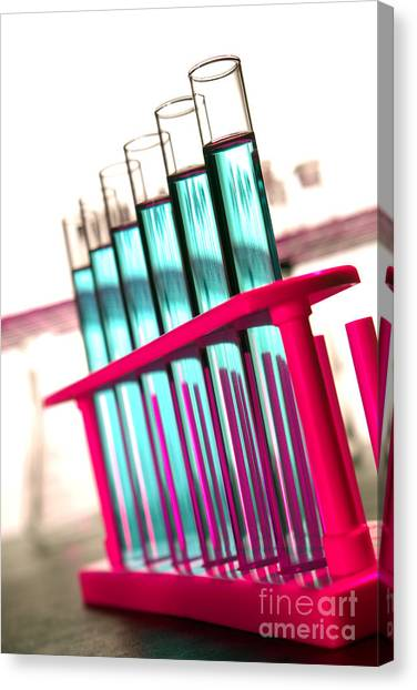 Test Tube Canvas Print - Test Tubes In Science Research Lab by Olivier Le Queinec