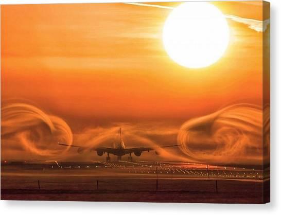 Sunrise Horizon Canvas Print - Aircraft by Mariel Mcmeeking