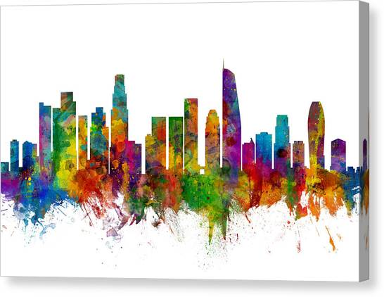 Los Angeles Skyline Canvas Print - Los Angeles California Skyline by Michael Tompsett