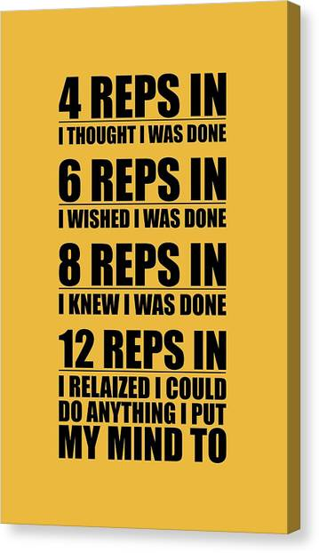 Gym Canvas Print - 12 Reps In I Relaized I Could Do Anthing I Put My Mind Gym Quotes Poster by Lab No 4