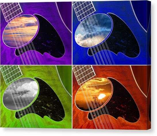 Classical Guitars Canvas Print - 12 String Quadtych by Gill Billington