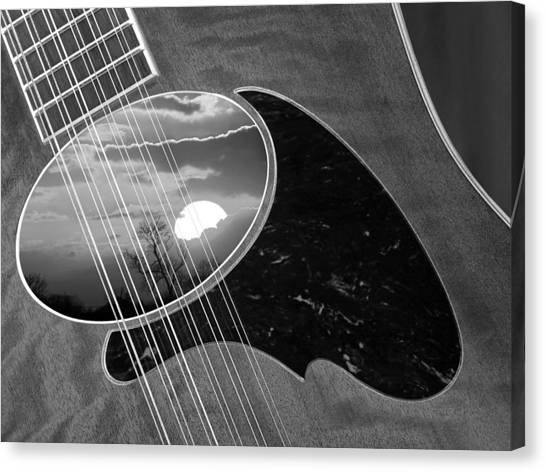 Classical Guitars Canvas Print - 12 String Sunset In Black And White by Gill Billington