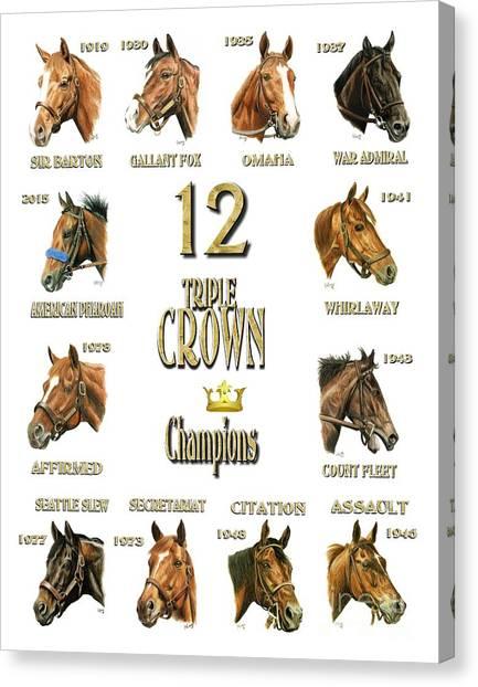 12 Triple Crown Winners Canvas Print