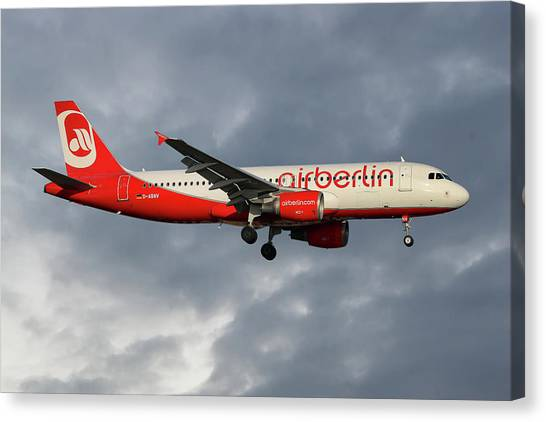 Berlin Canvas Print - Air Berlin Airbus A320-214 by Smart Aviation