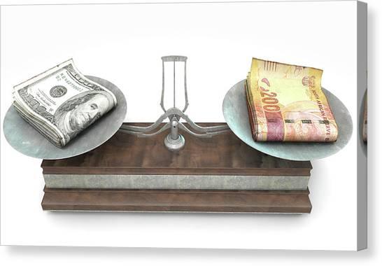 Exchange Rate Canvas Print - Balance Scale Comparison by Allan Swart