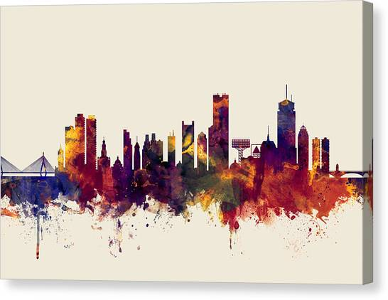 Boston Skyline Canvas Print - Boston Massachusetts Skyline by Michael Tompsett