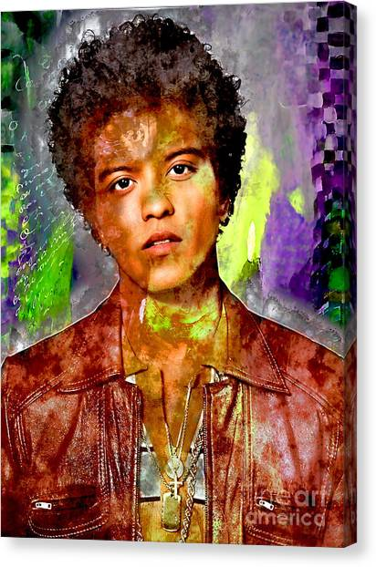 Planet Canvas Print - Bruno Mars by Marvin Blaine