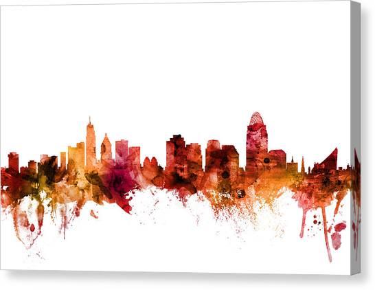 Cincinnati Reds Canvas Print - Cincinnati Ohio Skyline by Michael Tompsett