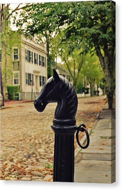 Nantucket Hitching Post Canvas Print by JAMART Photography