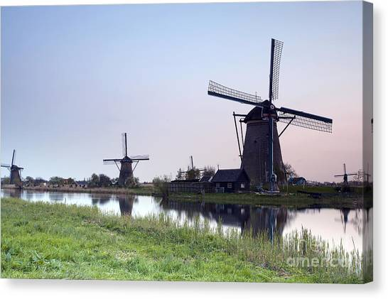 Maas Canvas Print - Mills In Netherlands by Andre Goncalves