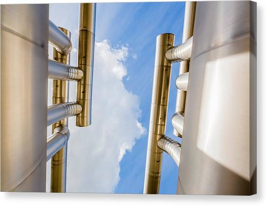 Landform Canvas Print - Pipes At Nesjavellir Geothermal Power by Panoramic Images